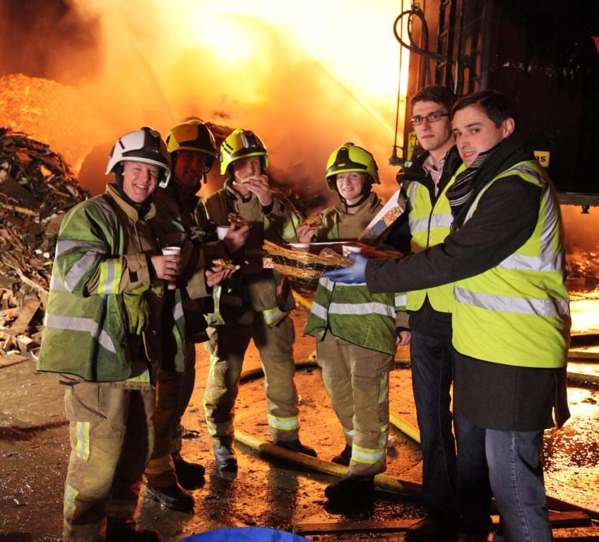 Firefighters refreshed by Plymouth Brethren aid workers