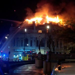 Former Majestyk Nightclub in Flames