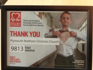 The BHF Certificate presented to PBCC