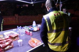 Hot and cold food and drink were provided shortly afterwards in a tent set up by the RRT, and members from all the services present were able to benefit from this provision.