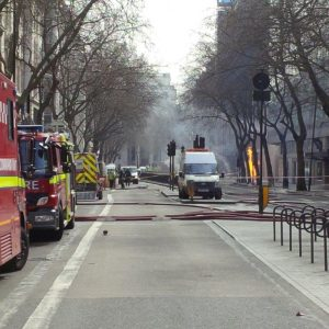Road closed at London Holborn Fire