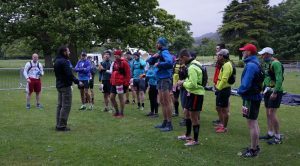 Some participants getting a briefing prior to the run