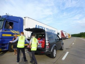 RRT handing out water to the stranded lorry drivers on the M20