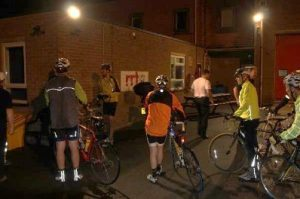 Cyclists arriving at Stratton St. Margaret Fire Station in Swindon at around 3:15am!