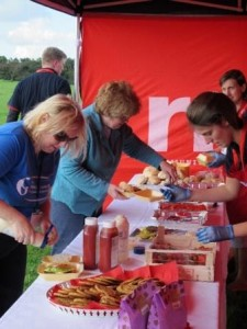 At the finish line - hot food, cookies and strawberries