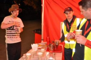 Coffee all night for some – RRT Volunteers serving hot drinks