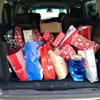 Back of the RRT van filled with presents for the homeless