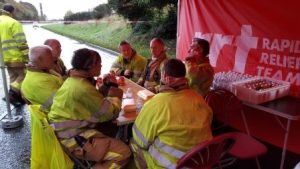 Fire crews taking a welcome break