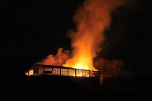 The barn ablaze…