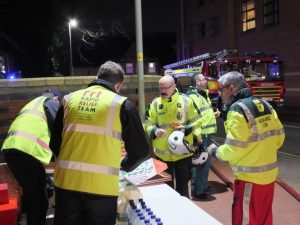 At the scene on Ross Walk, RRT provided the emergency workers with fresh pizza, crisps, water and hot drinks