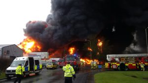 The scene of the Stafford blaze