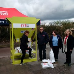 Sandbagger Machine 032017 RRT Taunton Taunton Deane MP Rebecca Pow inspects new RRT sandbagging machine