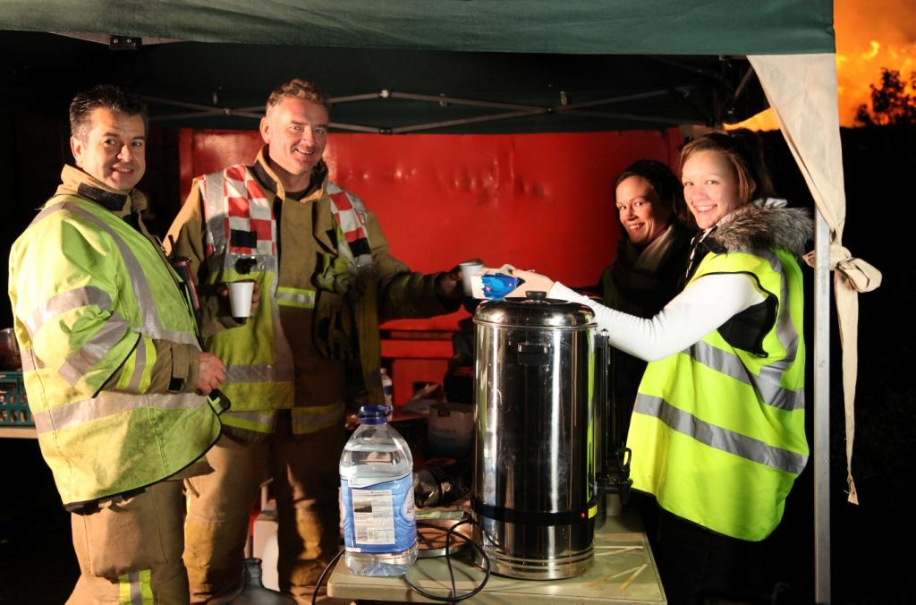 Plymouth Brethren provide hot drinks for firefighters