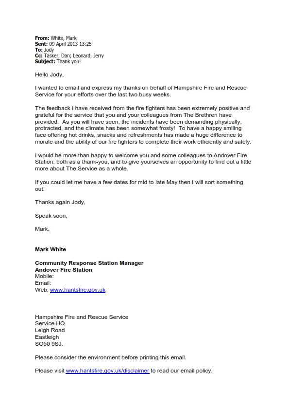 Plymouth Brethren - Email from Mark White Station Manager