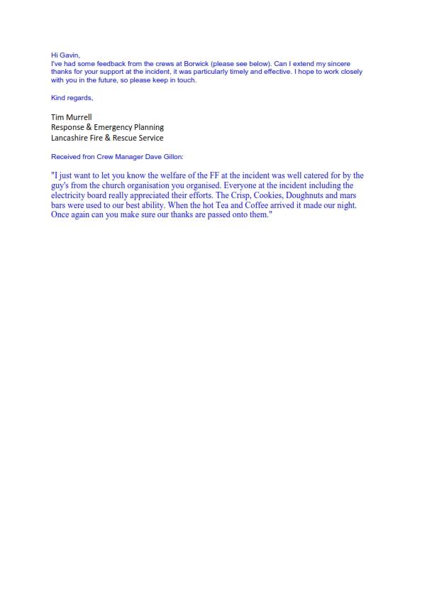 PBCC - Appreciation from Lancashire F&R