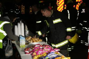 Crew members returning from a shift were welcomed by RRT volunteers with snacks and refreshments.