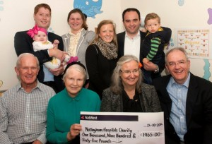 PBCC members and children with the hand over cheque.