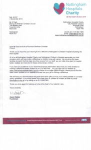 Thank you letter from Nottingham Hospital's Charity