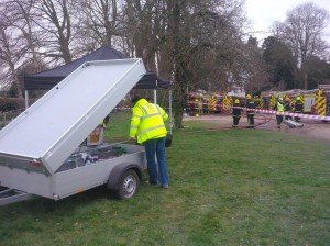 Setting up as quickly as possible for the exhausted fire crews