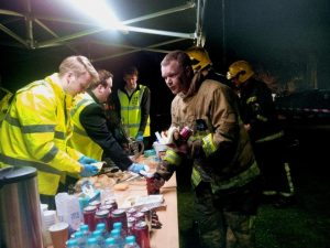 A last call for hot drinks and bacon rolls was made and a few more were served while the rest of the team began the unenviable task of packing up the equipment in the pouring rain!
