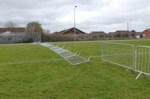 The Blown over barrier fence!