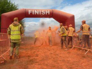 Orange waiting at the finish line