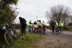 Cyclists stopping off at one of the many food stations