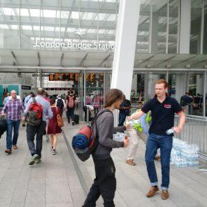 RRT handing out water bottles at London Bridge station