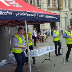 The familiar tents and volunteers of the RRT