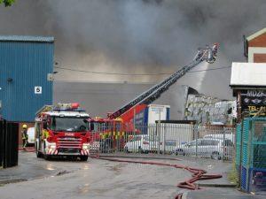 The scene of the blaze.