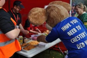 Chesterfield FC's Chester the Mouse mascot…after the cheese again!