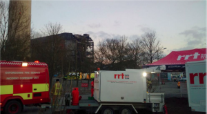 RRT set up at the scene of the collapsed building