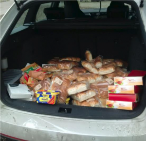 Boot loads of provisions – many kindly donated by Tesco and other stores